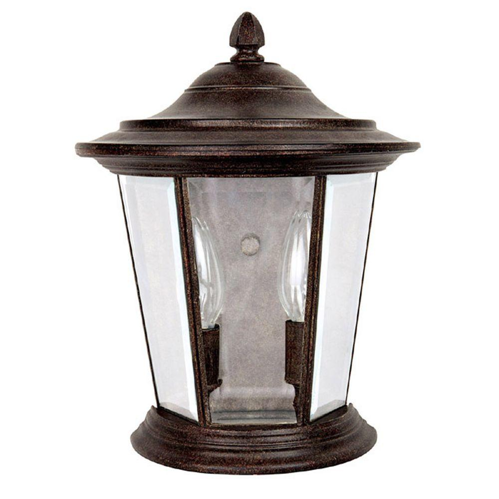Filament Design 2-Light 12 in. Outdoor Sconce Tortoise Finish Clear Glass