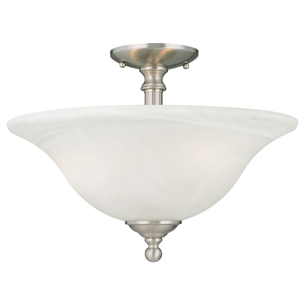 Riva 3-Light Brushed Nickel Ceiling Semi-Flush Mount Light