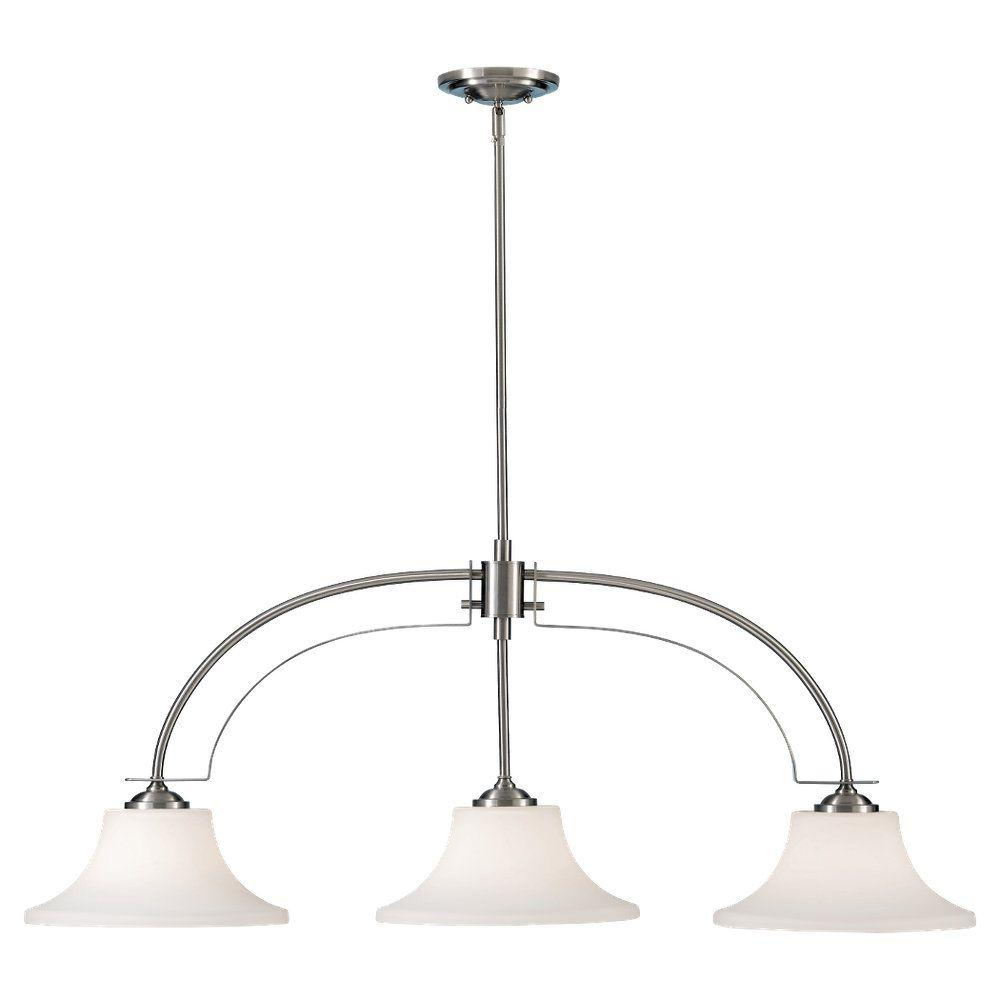 Barrington 3-Light Brushed Steel Billiard Island Chandelier Shade
