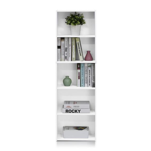 Furinno Tropika 52 In White Faux Wood 5 Shelf Standard Bookcase With Storage 11055wh The Home Depot
