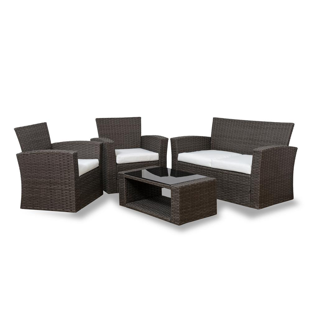 Westin Outdoor Hudson 4-Piece Rattan Wicker Patio Conversation Set with White Cushions