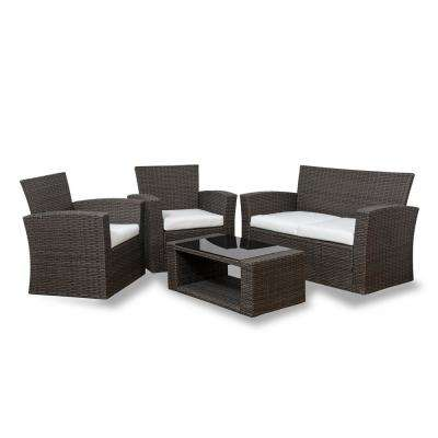 Hudson 4-Piece Rattan Wicker Patio Conversation Set with White Cushions