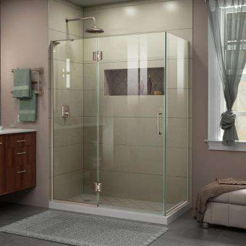 Unidoor-X 30 in. x 47-3/8 in. x 72 in. Frameless Hinged Shower Enclosure in Brushed Nickel