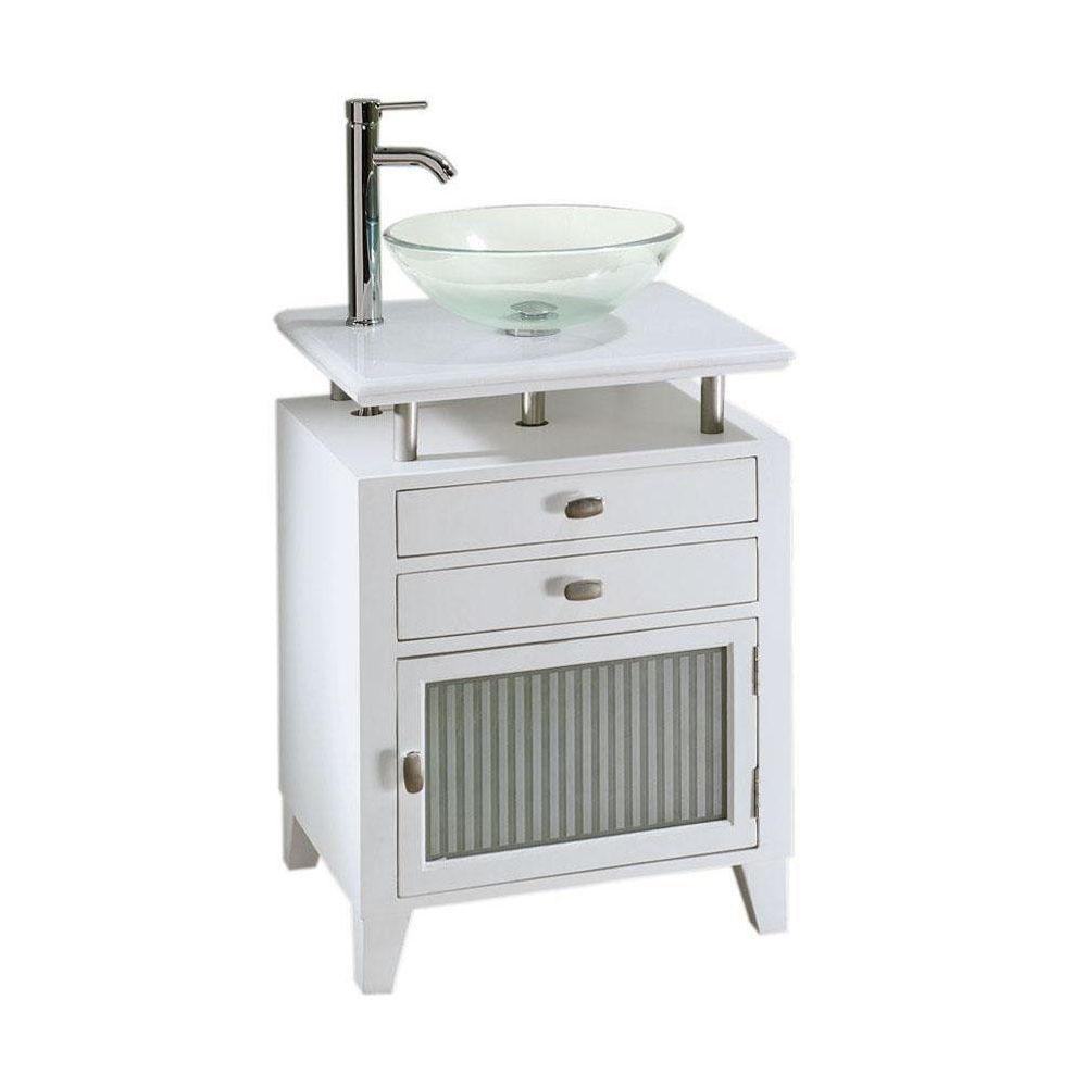 Home Decorators Collection Moderna 24 in. W x 21 in. D Bath Vanity in White with Marble Vanity Top in White and Glass Door