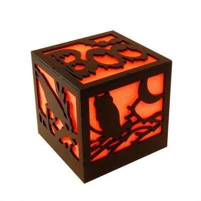 4.75 in. Halloween Wooden Lantern with Multi-Orange Light