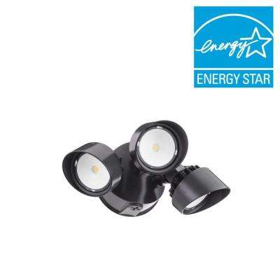 Contractor Select OLF 3RH 3-Head Bronze Outdoor Integrated LED Round Flood Light 4000K 120-Volt