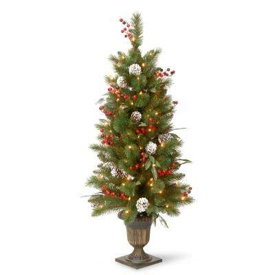 4 ft. Frosted Pine Berry Collection Entrance Tree with Cones, Red Berries, Silver Glittered Eucalyptus Leaves