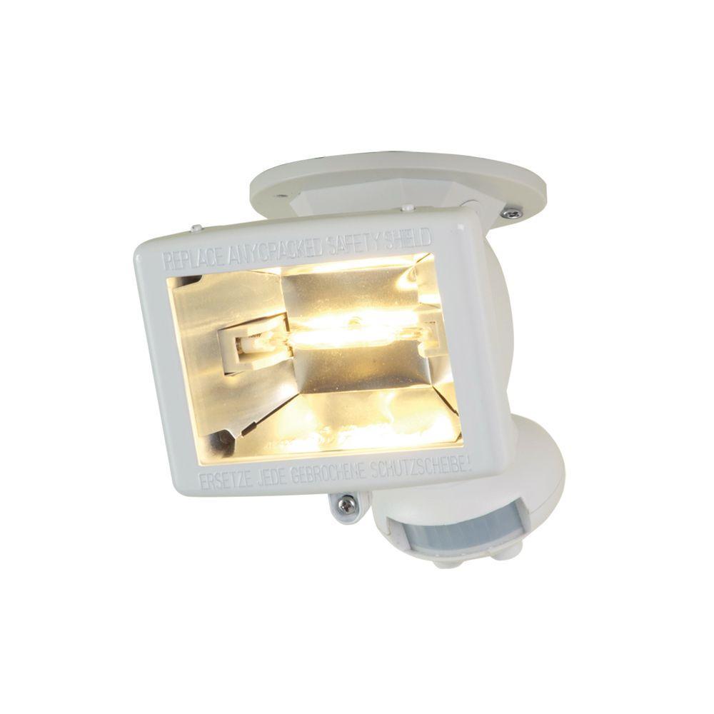 110-Degree White Halogen Motion Activated Sensor Outdoor Security Flood Light