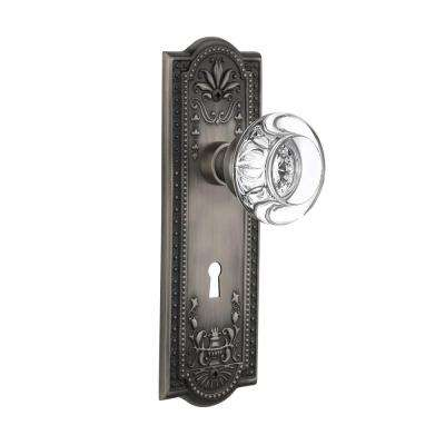 Meadows Plate with Keyhole Double Dummy Round Clear Crystal Glass Door Knob in Antique Pewter