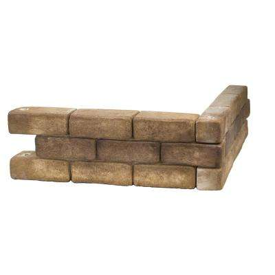 Tumbled Brick 24 in. W x 8 in. H x 3 in. D Tan/Gray Concrete Raised Garden Bed, Planter Box Stones (4-Pack)