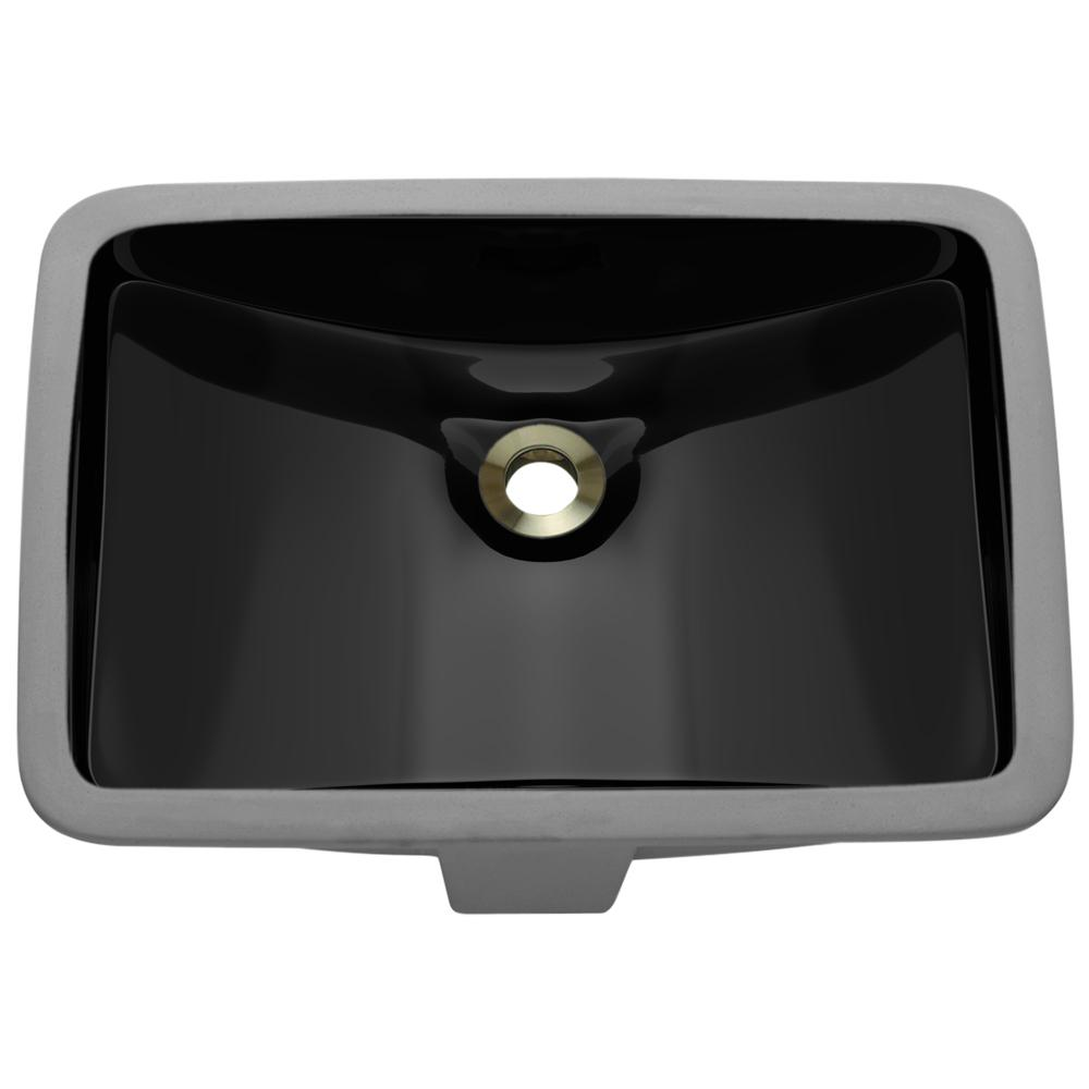 MR Direct Undermount Porcelain Bathroom Sink in Black