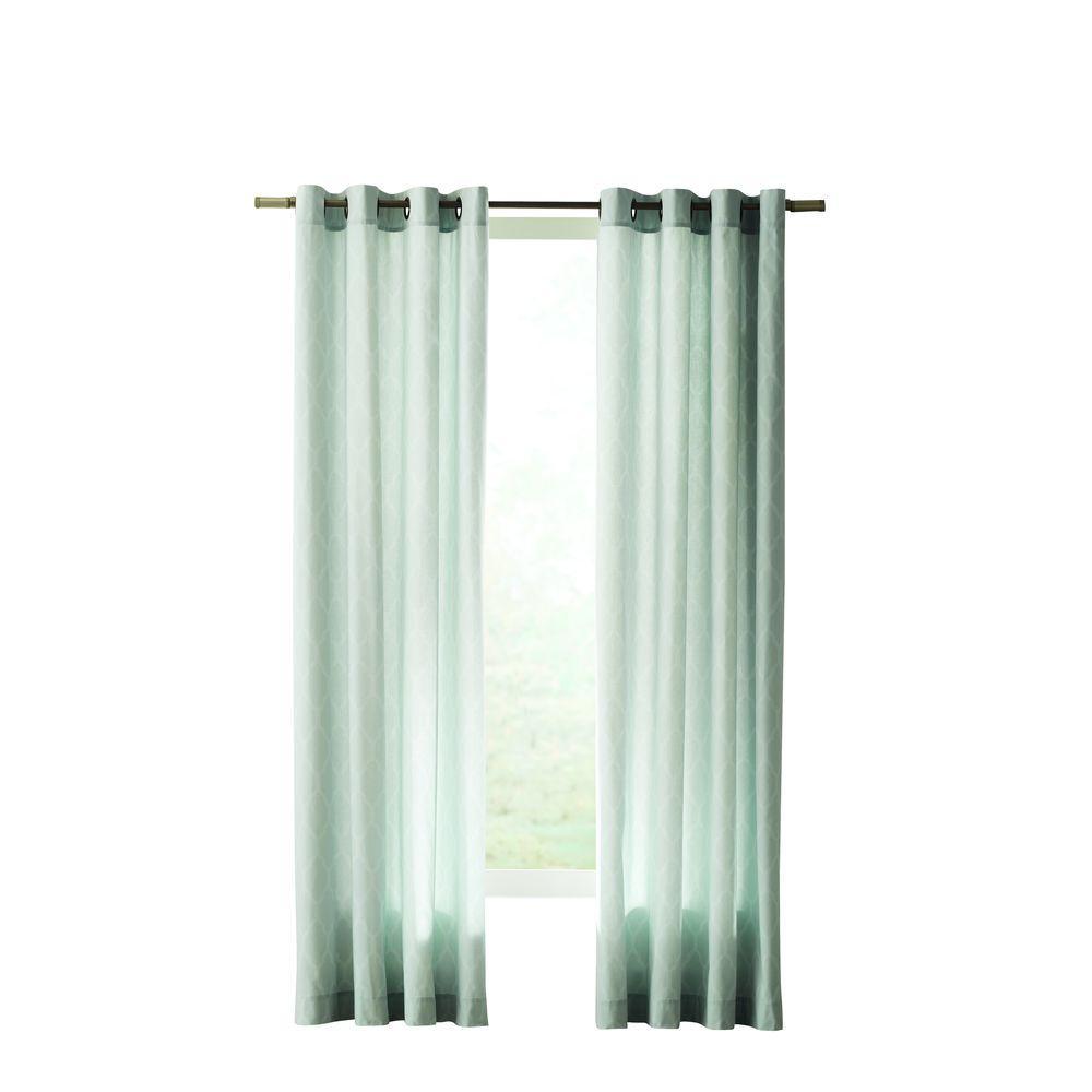 Home Decorators Collection Semi-Opaque Blue Modern Lattice Curtain, 50 in. W x 84 in. L