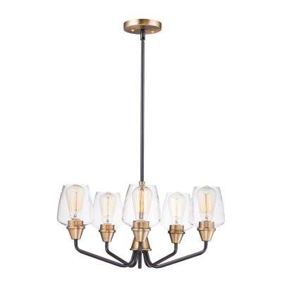 Goblet 23 in. W 5-Light Bronze/Antique Brass Chandelier with Clear Shade