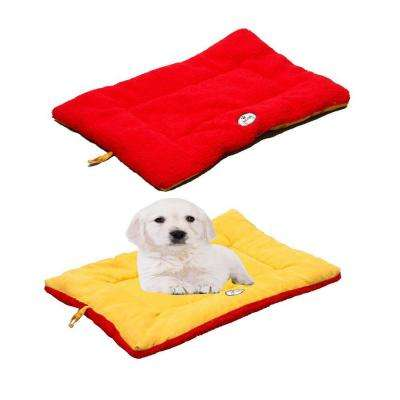 Eco-Paw Large Orange and Red Reversible Pet Bed