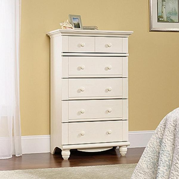 Harbor View 5-Drawer Antiqued White Chest 158015