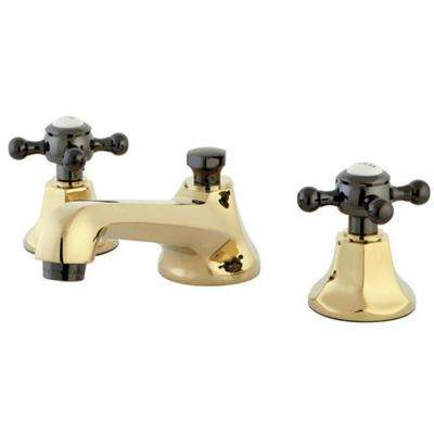 Kate 8 in. Widespread 2-Handle Cross-Handles Bathroom Faucet in Polished Brass and Black
