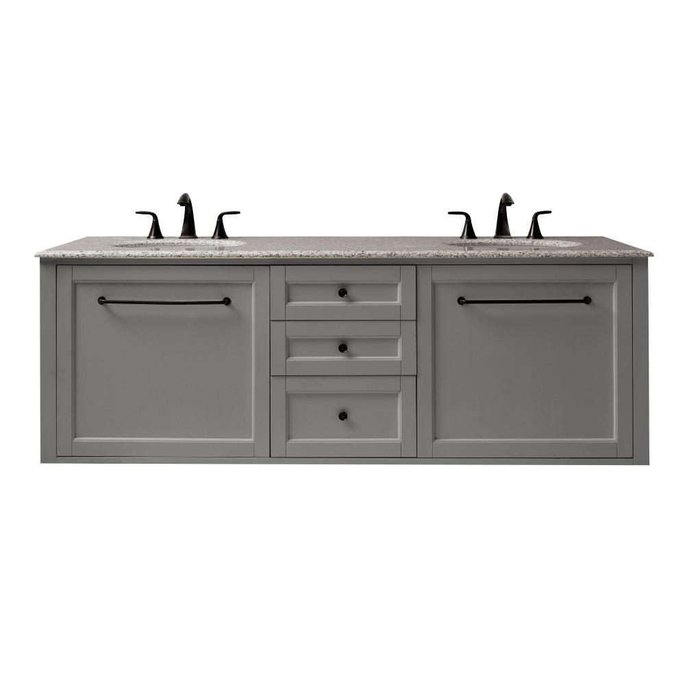 Home Decorators Collection Hamilton 68 in. W Wall Hung Double Vanity in Grey with Granite Vanity Top in Grey with White Sink