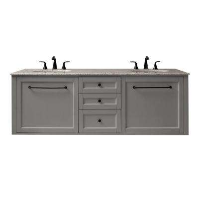Hamilton 68 in. W Wall Hung Double Vanity in Grey with Granite Vanity Top in Grey with White Sink