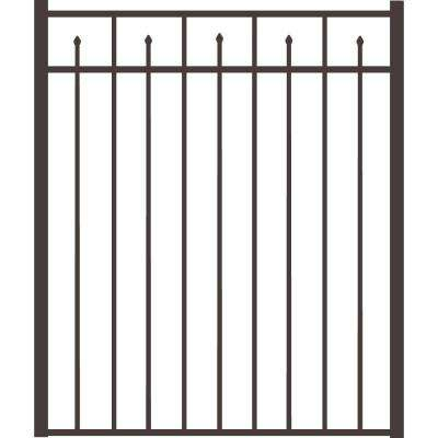 Brilliance Standard-Duty 4 ft. x 4-1/2 ft. Pewter Aluminum Straight Pre-Assembled Fence Gate