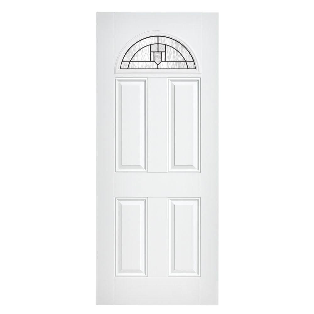 Masonite Glendale Fan Lite Primed Smooth Fiberglass Prehung Front Door with No Brickmold-DISCONTINUED