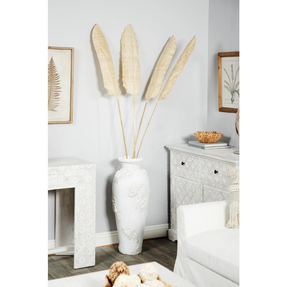 Litton Lane Textural Tall White Large Floor Decorative Vase