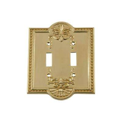 Meadows Switch Plate with Double Toggle in Unlacquered Brass