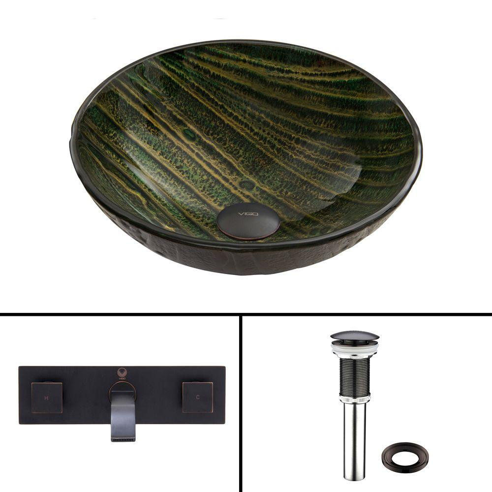 VIGO Glass Vessel Sink in Green Asteroid and Titus Wall Mount Faucet Set in Antique Rubbed Bronze