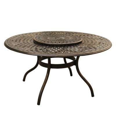 Contemporary Modern 59 in. Round Aluminum Outdoor Dining Table Mesh Lattice in Bronze with Lazy Susan