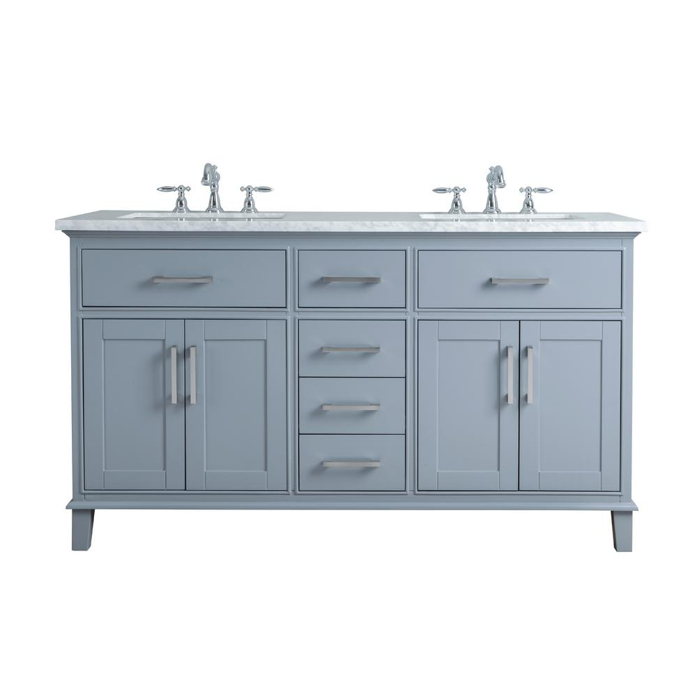 stufurhome 60 in. Leigh Double Sink Bathroom Vanity in Grey with Carrara Marble Vanity Top in White with White Basin