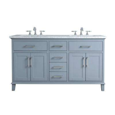 60 in. Leigh Double Sink Bathroom Vanity in Grey with Carrara Marble Vanity Top in White with White Basin