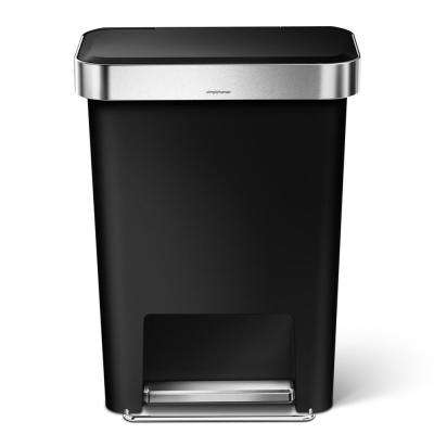 45-Liter Black Plastic Rectangular Liner Rim Step-On Trash Can