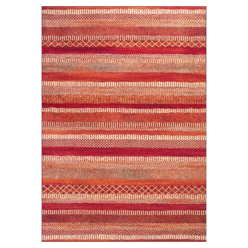 Kas Rugs Always Stripe Orange/Cream 7 ft. 10 in. x 11 ft. 2 in. Area Rug
