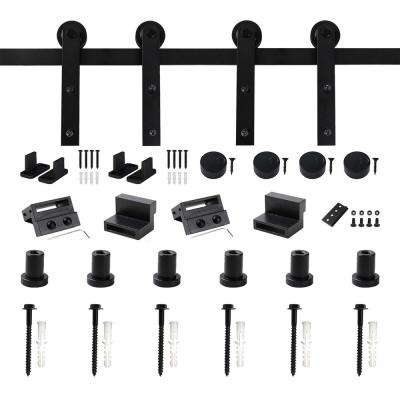 8 ft. Frosted Black Strap Sliding Barn Door Track Hardware Kit for Double Wood Doors Non-Routed Floor Guide