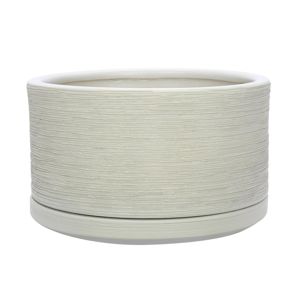 Southern Patio Liesl 5.9 in. Dia Beige Ceramic Planter