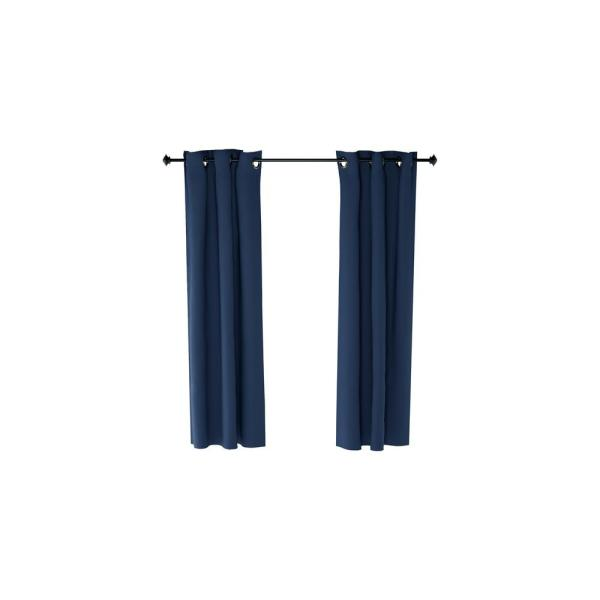 Collins Dark Blue Polyester Blackout Curtain - 42 in. x 42 in. (2-Pack)