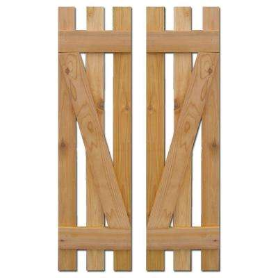 12 in. x 43 in. Baton Spaced Z Board and Batten Shutters (Natural Cedar) Pair