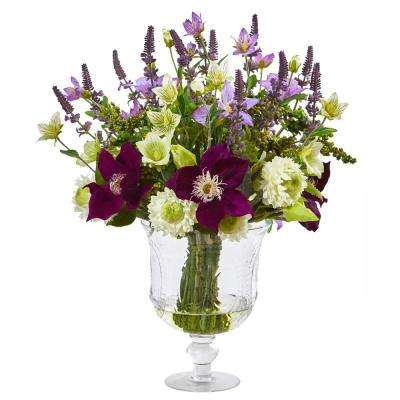 18 in. Mixed Flower Artificial Arrangement in Royal Urn