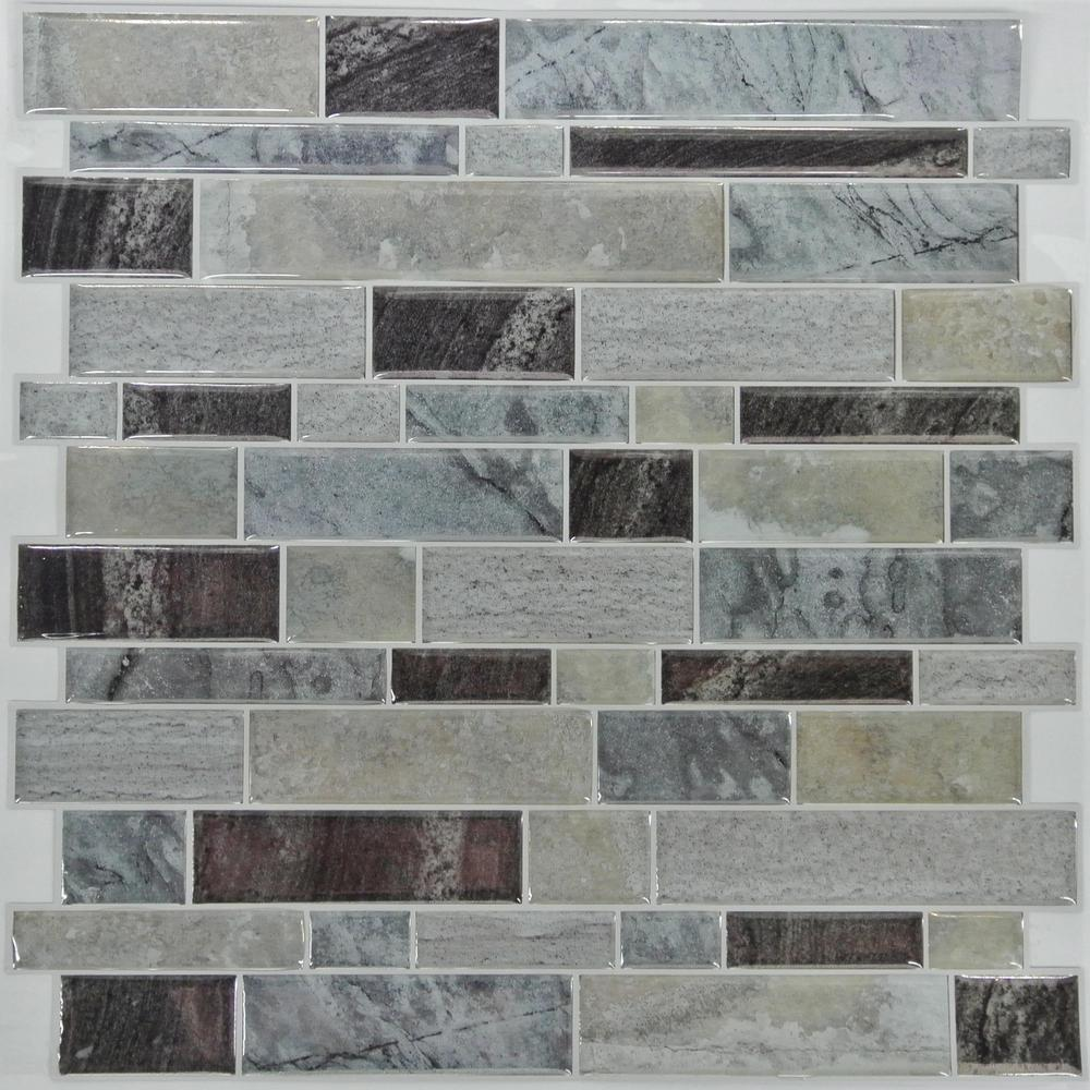 StickTiles 10.5 in. x 10.5 in. Blue Long Stone Peel and Stick ...