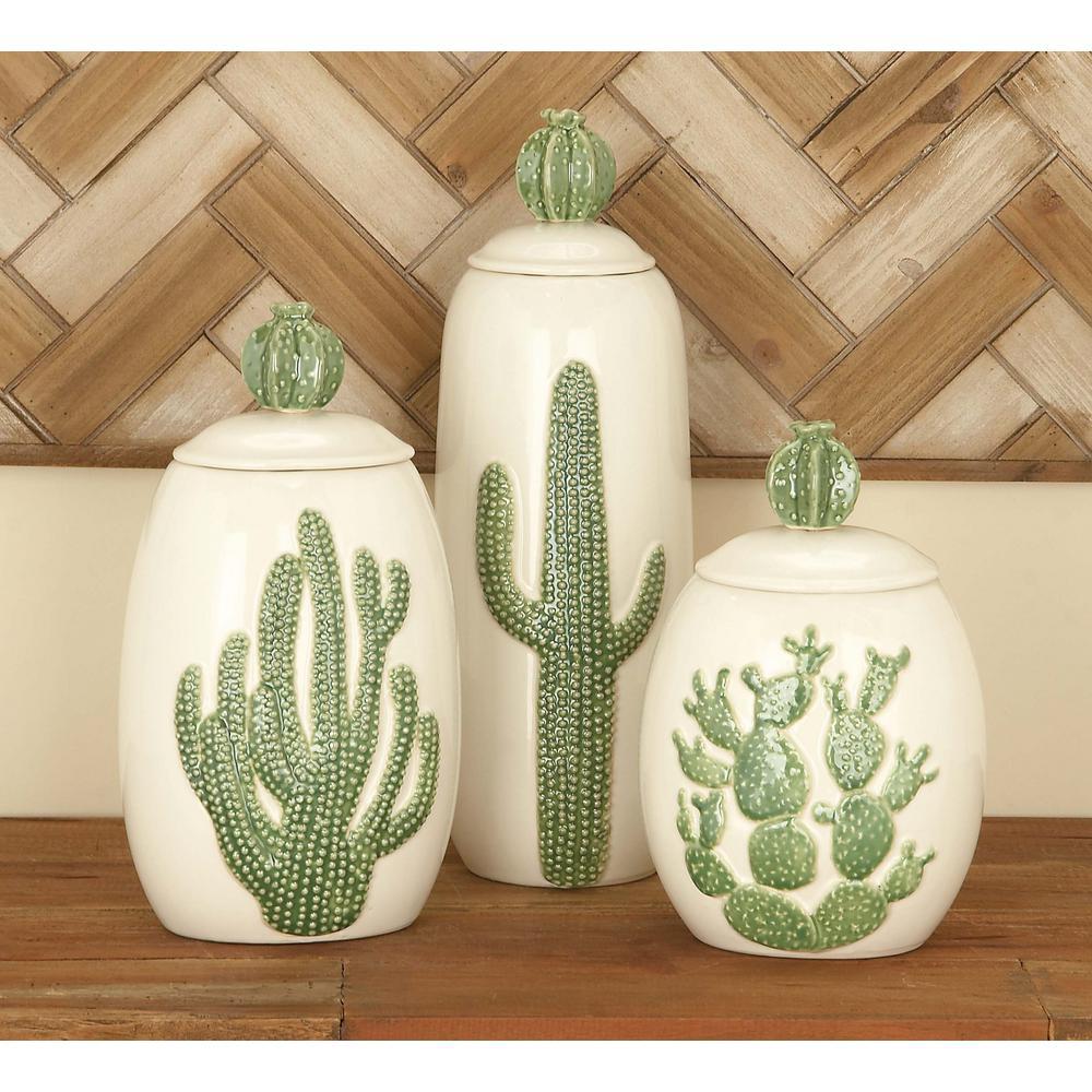 Set of 3 Ceramic Cactus Jars in Glazed White
