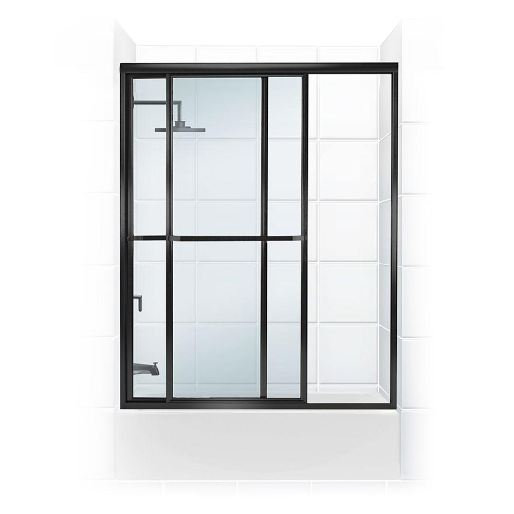 Coastal Shower Doors Paragon Series 48 in. x 58 in. Framed Sliding Tub Door with Towel Bar in Oil Rubbed Bronze and Clear Glass