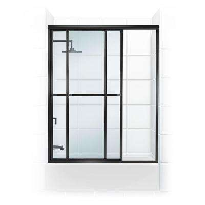 Paragon Series 58 in. x 58 in. Framed Sliding Tub Door with Towel Bar in Black Bronze and Clear Glass