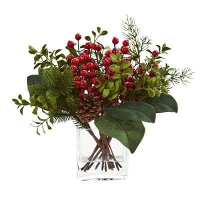Indoor Berry, Pine and Boxwood Artificial Arrangement