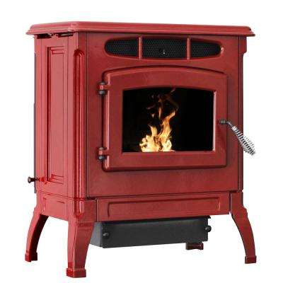 2,000 sq. ft. EPA Certified Cast Iron Pellet Stove Red Enameled Porcelain with 50 lbs. Hopper