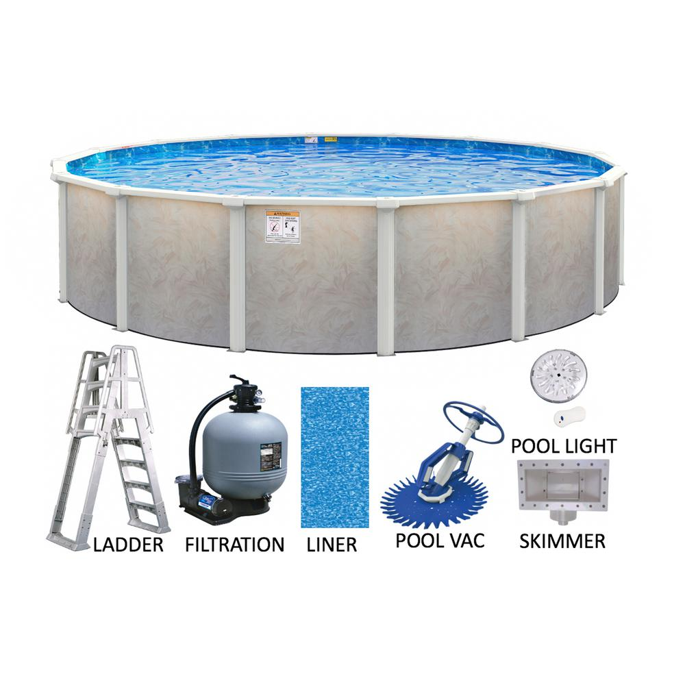 Ashford 15 ft. Round 52 in. Deep Hard Side Metal Wall and Frame Above Ground Swimming Pool Package