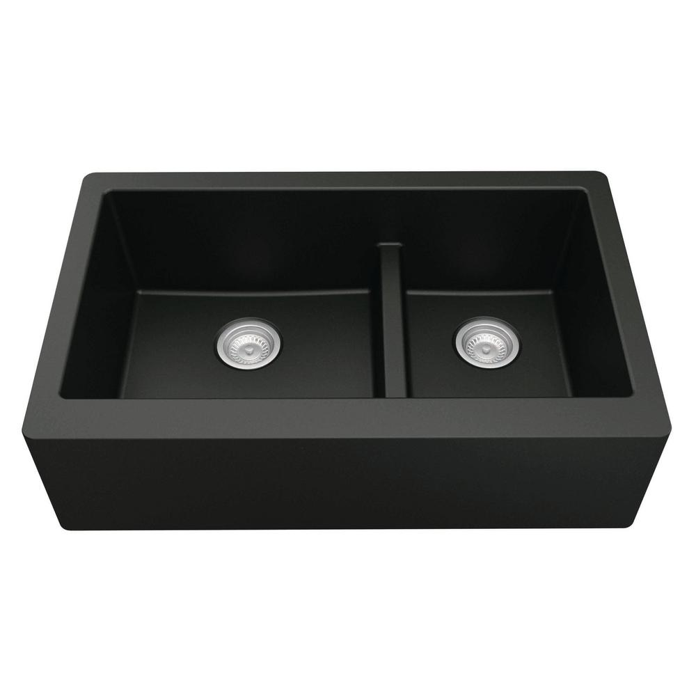 Karran Farmhouse Apron Front Quartz Composite 34 in. Double Offset Bowl Kitchen Sink in Black