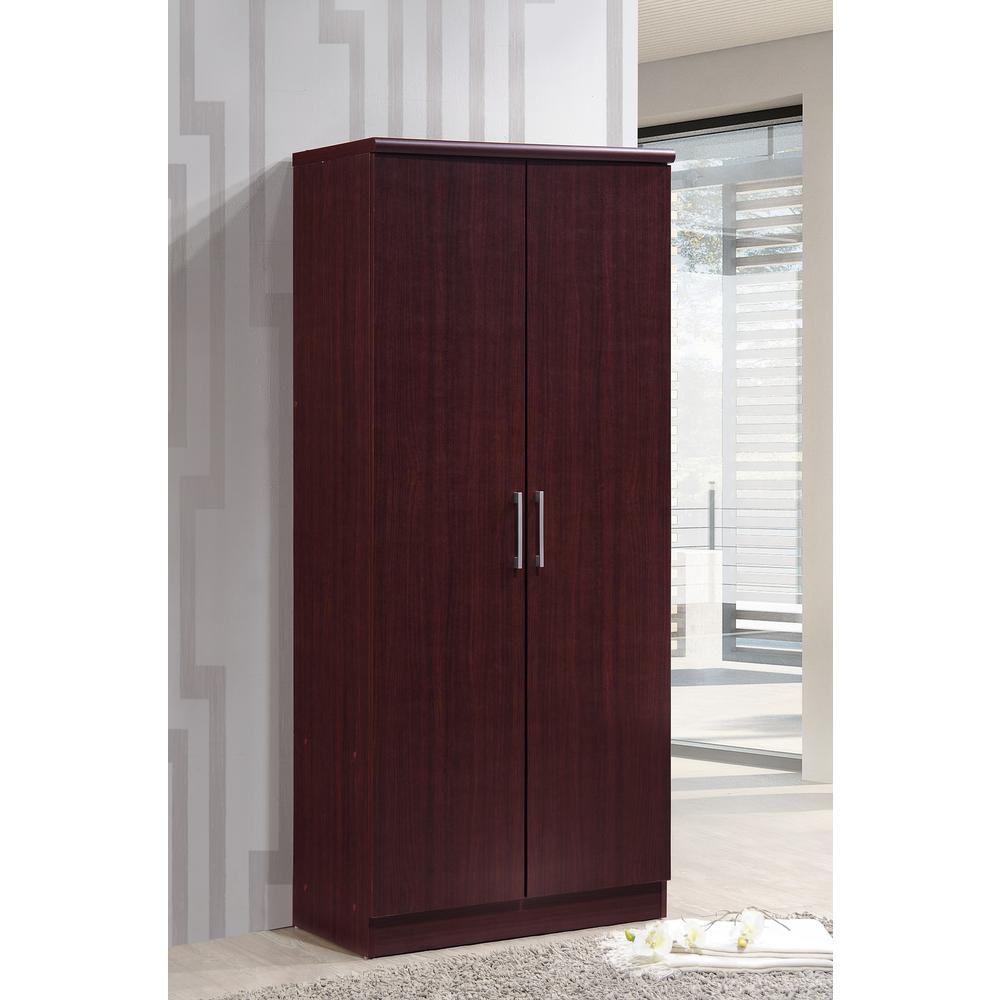 Beau 2 Door Mahogany Armoire With Shelves