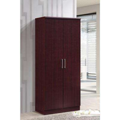 2-Door Mahogany Armoire with Shelves