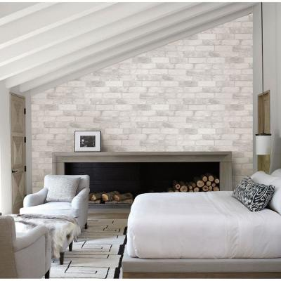 56.4  sq. ft. Rustin White Reclaimed Bricks Wallpaper
