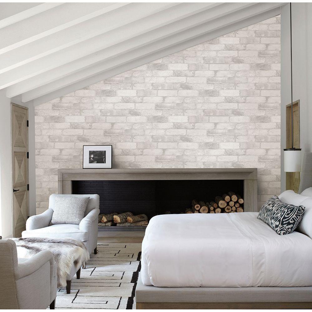 White Reclaimed Bricks Rustic Wallpaper Sample
