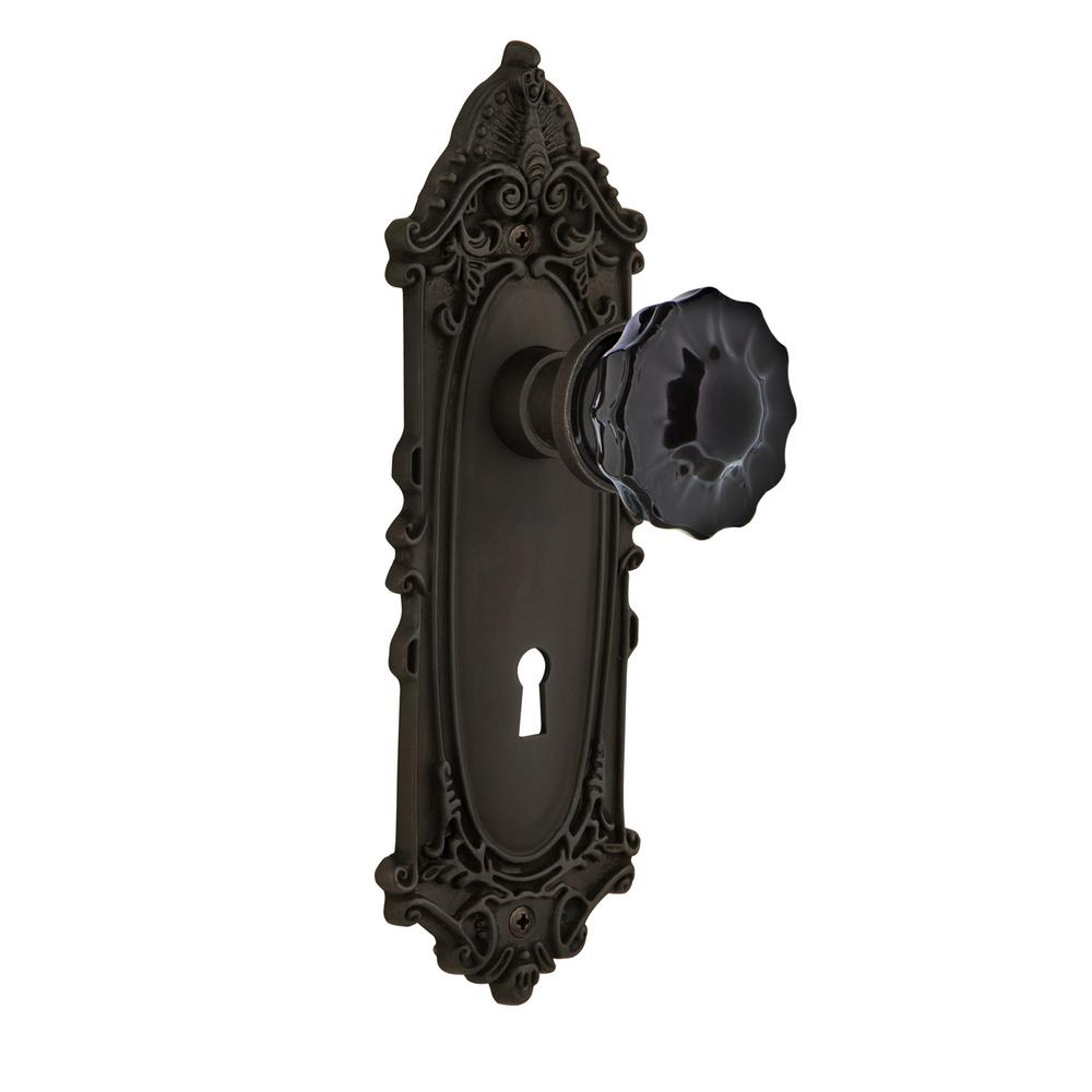 Defiant 2 In Aged Bronze Victorian Glass Knob Mortise Set
